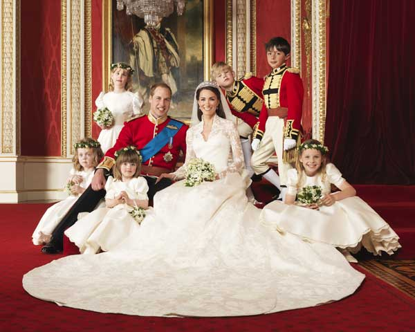 "<div class=""meta image-caption""><div class=""origin-logo origin-image ""><span></span></div><span class=""caption-text""> this photo provided by Clarence House on Saturday, April 30, 2011, Britain's Prince William, center left, and his wife Kate, Duchess of Cambridge, center right, pose for a photograph with, clockwise from bottom right, Margarita Armstrong-Jones, Eliza Lopes, Grace van Cutsem, Lady Louise Windsor, Tom Pettifer, and William Lowther-Pinkerton in the Throne Room at Buckingham Palace, following their wedding at Westminster Abbey, London, on Friday, April 29, 2011.  ((AP Photo/Hugo Burnand, Clarence House))</span></div>"
